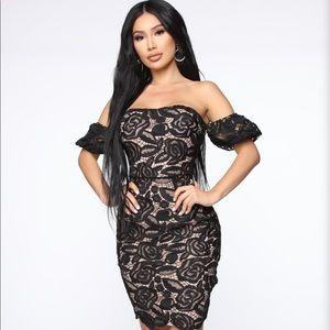 NWT Fashion Nova Black & Nude Crotchet Mini Dress